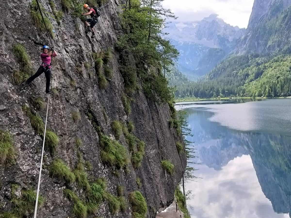 Start der Seilbruecke beim Klettersteig am Gosausee